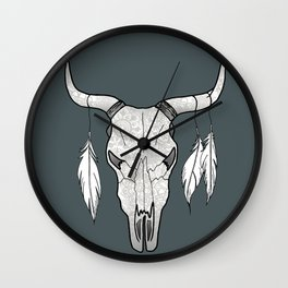Decorated Bull Skull Wall Clock