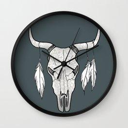 Decorated Bull Skull Wall Clock