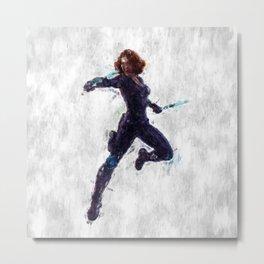 Black Widow Heroine Metal Print