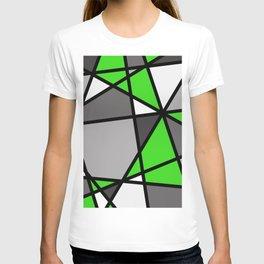 Triangels Geometric Lines green - grey - white T-shirt