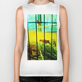 Two birds in cages. Biker Tank