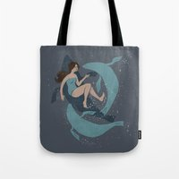 nautical Tote Bags featuring nautical by Louise Hubbard