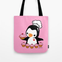 cooking Tote Bags featuring Cooking Penguin by joanfriends