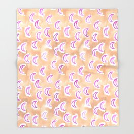 moons and madness at dawn watercolor Throw Blanket