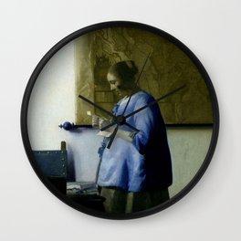 Vermeer, woman reading a letter,Mujer leyendo una carta,Brieflezende vrouw, Wall Clock