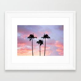 Palm Trees Sunset Photography Framed Art Print