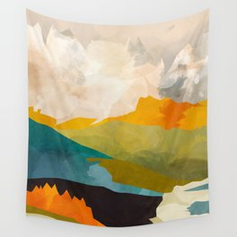 landscape mountains abstract minimal art Wall Tapestry