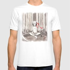 Death Wears a Mask MEDIUM Mens Fitted Tee White