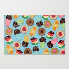 Assorted Cookies on Blue Background Canvas Print