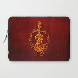 Aged Vintage Red and Yellow Tribal Violin Design Laptop Sleeve