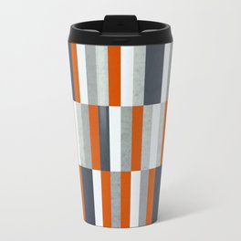 Orange, Navy Blue, Gray / Grey Stripes, Abstract Nautical Maritime Design by Metal Travel Mug