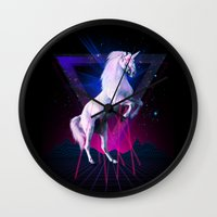 the last unicorn Wall Clocks featuring The last laser unicorn by Robert Farkas