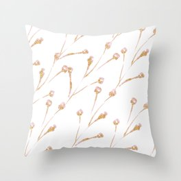Delicate Blossom Pink + Gold Glitter Throw Pillow