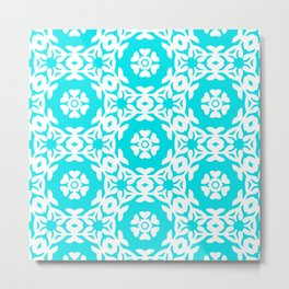 Woodblock Floral Trellis, Georgian Style 1800s - Turquoise and White Metal Print