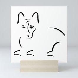 Dog Lovers // Corgi Minimalist Ink Drawing Mini Art Print