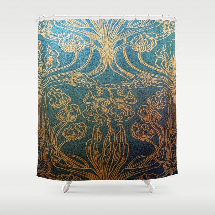 Art Nouveauteal And Gold Shower Curtain