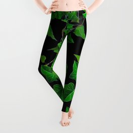 GREEN TRAILING IVY HOUSE PLANTS BLACK ART Leggings