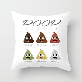 Poop colors- types of different types of faecal matter Throw Pillow