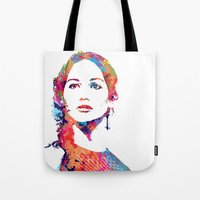 katniss Tote Bags featuring Katniss by lauramaahs