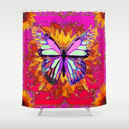 Rainbow Colored Butterfly On Red-fuchsia Sunflower Floral  Shower Curtain