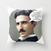 tesla Throw Pillows featuring Nikola Tesla by Pink Pony