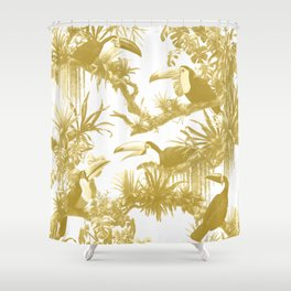 Toucans and Bromeliads - Spicy Mustard Shower Curtain