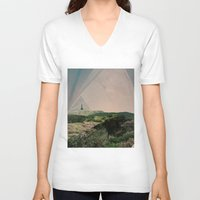 camping V-neck T-shirts featuring Sky Camping by Ffion Atkinson