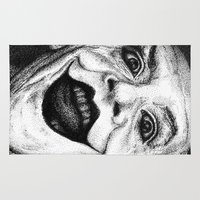 jack nicholson Area & Throw Rugs featuring Jack Nicholson Joker Stippling Portrait by Joanna Albright