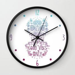 Good vibes only pink Wall Clock