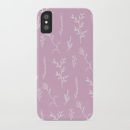 Modern spring pink lavender floral twigs hand drawn pattern iPhone Case