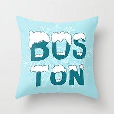 SNOWY BOSTON Throw Pillow
