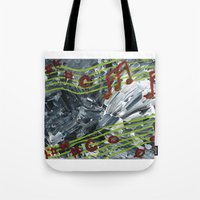 music notes Tote Bags featuring Music Notes by Paxelart