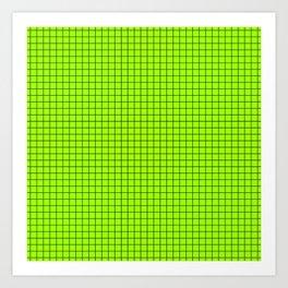 Green Grid Black Line Art Print