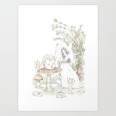 Fairies at the Bottom of the Garden Art Print