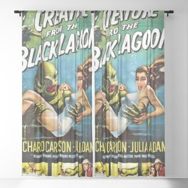 Creature from the Black Lagoon, vintage horror movie poster Sheer Curtain