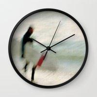 surfer Wall Clocks featuring Surfer by Anne Staub