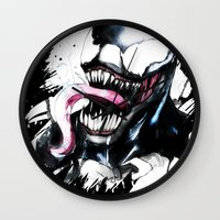 venom Wall Clocks featuring Venom  by Liam Shaw Illustration