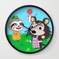 animal crossing Wall Clocks featuring Animal Crossing by Alex Owen