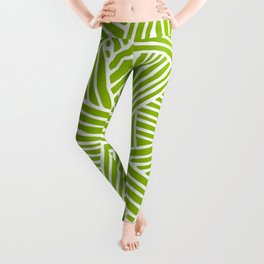 Abstract apple green & white Lines and Triangles Pattern- Mix and Match with Simplicity of Life Leggings