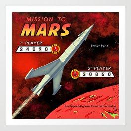 Mission To Mars Retro Pinball Art Print