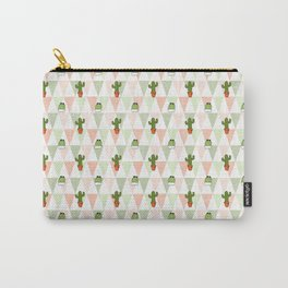 Hand painted pink coral green geometrical cactus Carry-All Pouch