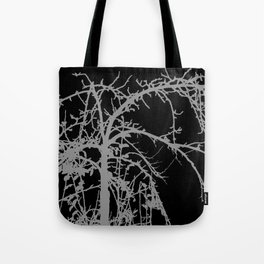 Creepy tree silhouette, grey on black Tote Bag