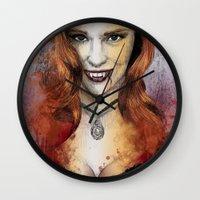 true blood Wall Clocks featuring Oh My Jessica - True Blood by Fresh Doodle - JP Valderrama