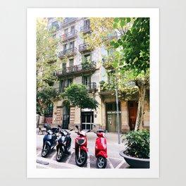Barcelona scooters Art Print