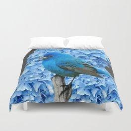 BLUE BIRD & BLUE HYDRANGEAS GREY ART Duvet Cover