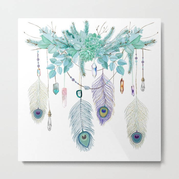 Peacock And Eucalyptus Crystal Spirit Gazer Metal Print