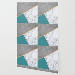 MARBLE TEAL GOLD GRAY GEOMETRIC Wallpaper