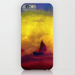 Sailboat and Red Sunset nautical landscape painting by Emil Nolde iPhone Case
