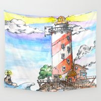 lighthouse Wall Tapestries featuring Lighthouse by SageTribe Art