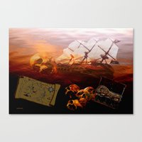 pirates Canvas Prints featuring Pirates  by valzart